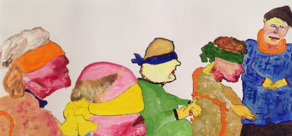 Zur Lage der Nation (Blinde Kuh), 2020, Öl und Acryl auf Papier, 21 x 43,5 cm